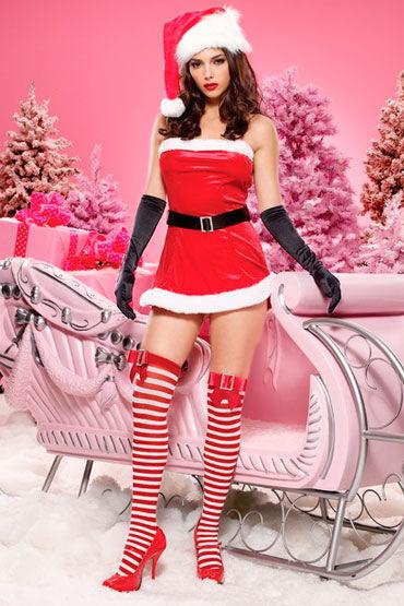 Leg Avenue Новогоднее платье Мини-платье с ремнем leg avenue платье черное очень откровенный наряд