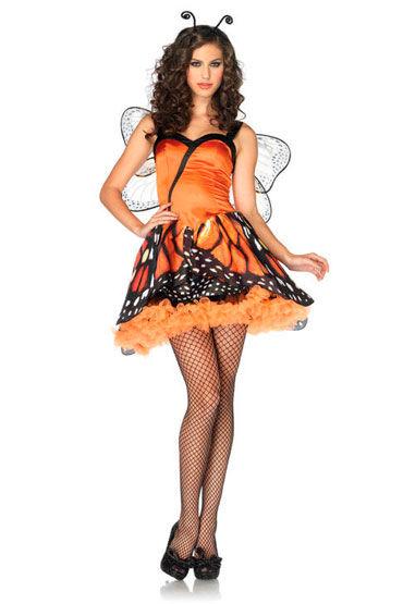 Leg Avenue Бабочка Мини-платье и ободок с усиками leg avenue swiss dot and lace keyhole teddy черный откровенное боди