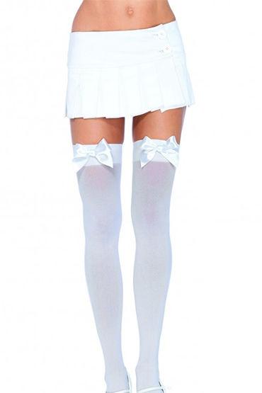 Leg Avenue чулки, белые С милым белым бантом leg avenue комбинация со шнуровкой и бантом