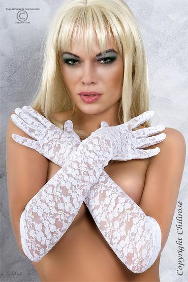 ChiliRose перчатки, белые С цветочным орнаментом