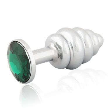 LoveToys Butt Plug Silver, зеленый Анальная пробка, украшена кристаллом