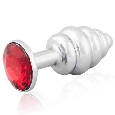 LoveToys Butt Plug Silver, красный Большая анальная пробка, украшена кристаллом lovetoys butt plug gold зеленый