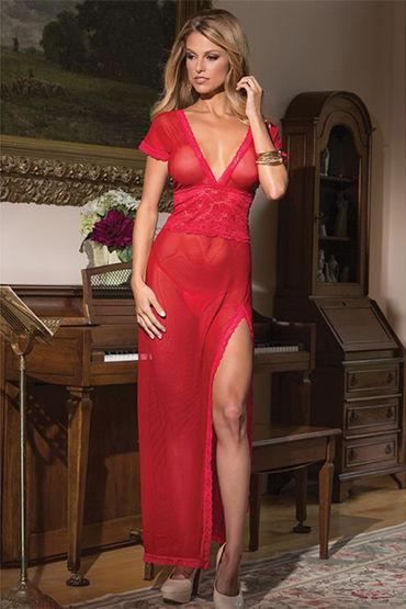 Coquette ночное платье, красное С глубоким декольте и короткими рукавчиками coquette медсестра с глубоким вырезом и красным кантом