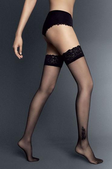 veneziana calze lolita телесные чулки с бантиками на задней поверхности Veneziana Doris, черные Чулки с декором на щиколотке
