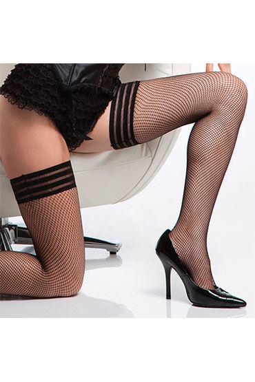 Coquette Dream, черные Чулки с красивой резинкой из трех полосочек