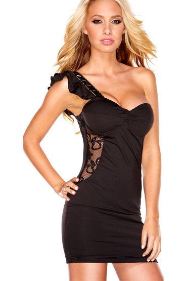 Hustler Lace Passion Клубное платье с бретелью на одно плечо hustler морячка лиф шорты фуражка и бантики