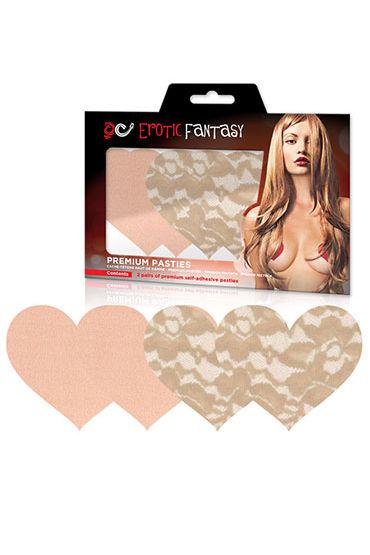 Erotic Fantasy Nude Ambition Телесные кружевные пэстисы-сердца
