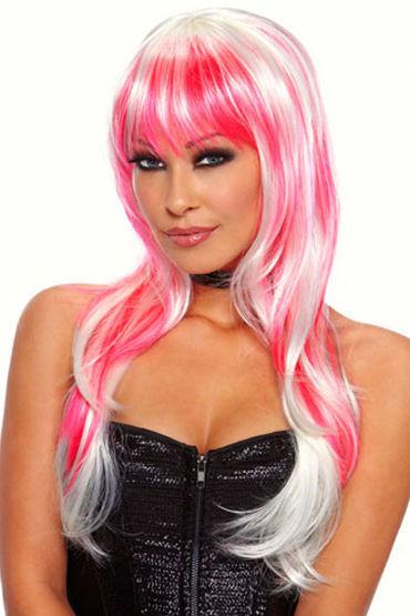 Erotic Fantasy Candy Бело-розовый парик с цветной челкой