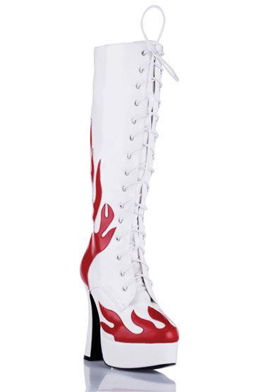 Electric Lingerie Shoes сапоги, белые С красными языками пламени erolanta корсет ibs