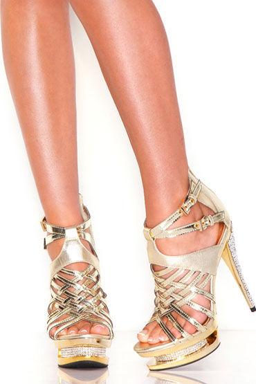 Hustler босоножки, золотые Лаковые, со стразами hustler x treme лаковые фетиш туфли размер 37