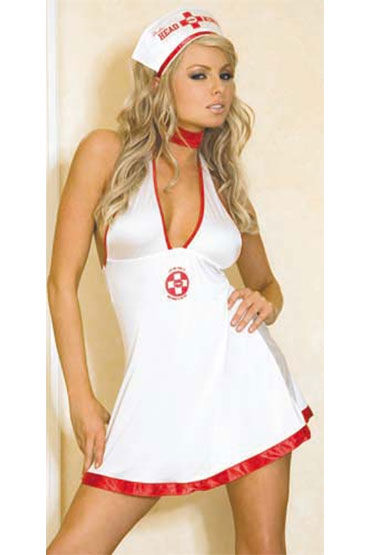 Hustler Медсестра Мини-платье и чепчик набор фиксаторов
