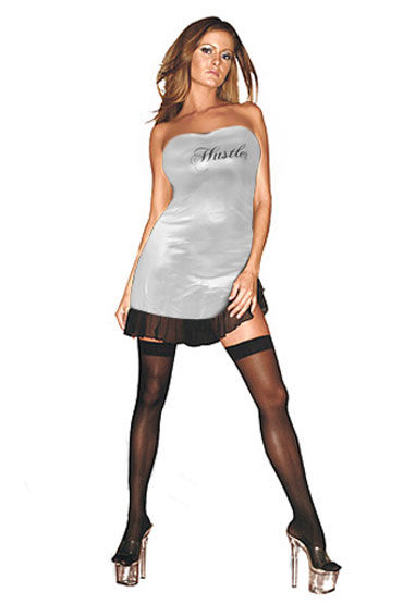 Hustler платье, серебристое С надписью Hustler на груди podium флогер длинные замшевые хвосты