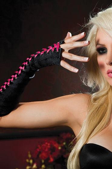 Seven til Midnight перчатки С розовой шнуровкой seven til midnight чулки увеличенного размера черные в сетку с линией сзади