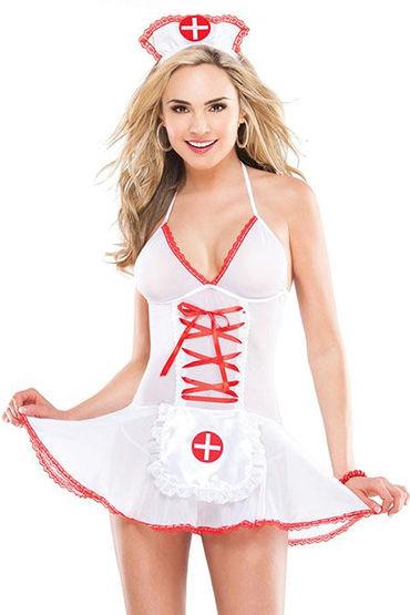 Coquette Медсестра Сорочка с фартуком и чепчик coquette медсестра с глубоким вырезом и красным кантом