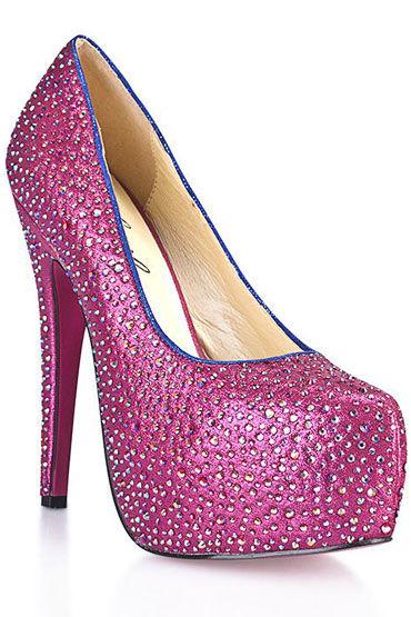 Hustler Sexy Pink Туфли на высокой шпильке Декорированы серебряными кристаллами pink lipstick tutorial