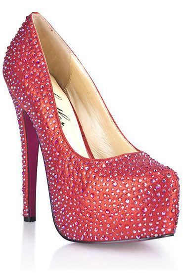 Hustler Provocative Red Туфли на высокой шпильке Декорированы серебряными кристаллами hustler туфли с леопардовой танкеткой