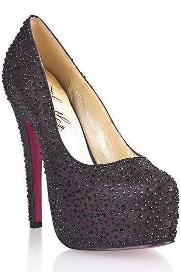 Hustler Black Diamond Туфли на высокой шпильке Декорированы черными кристаллами hustler туфли с леопардовой танкеткой
