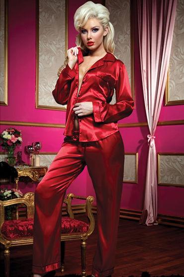 Seven til Midnight комплект Сексуальная атласная пижама кэтсьюит seven til midnight в крупную сетку xl