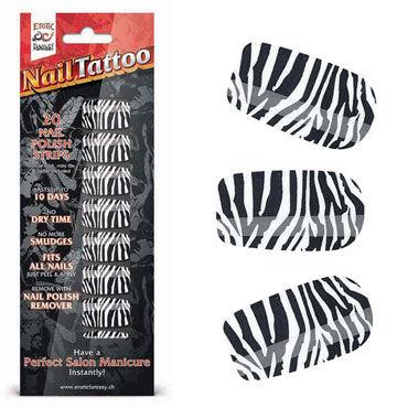 Erotic Fantasy Nail Tattoo, зебра Набор лаковых полосок для ногтей