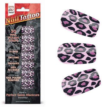 Erotic Fantasy Nail Tattoo, фиолетовый леопард Набор лаковых полосок для ногтей erotic fantasy crazy pleasure фиолетовый анальные бусы с шариками разного диаметра