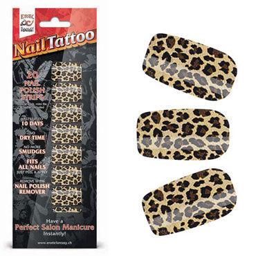 Erotic Fantasy Nail Tattoo, леопард Набор лаковых полосок для ногтей