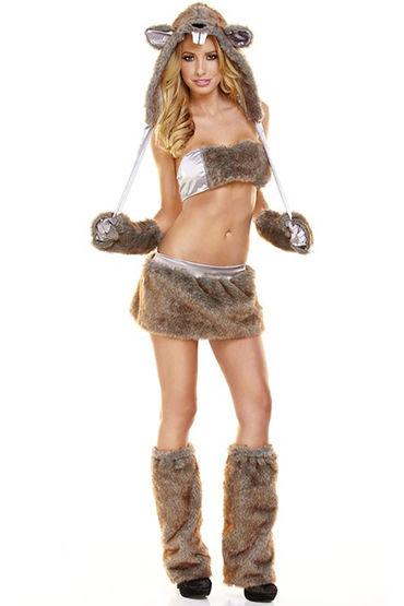 Hustler Бобер Меховой наряд из пяти предметов у белье для ролевых игр и костюмы униформа материал хлопок