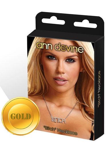Ann Devine Bitch, золотой Цепочка с кулоном ann devine fuck choker ошейник с провокационной надписью