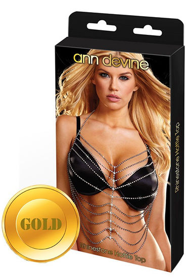 Ann Devine Phinestone Hottie Top, золотой Украшение на тело из кристаллов бюстгальтеры ann devine