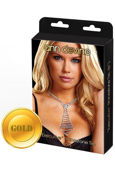 Ann Devine Phinestone Tie, золотой Из сверкающих кристаллов подвязки цвет красный