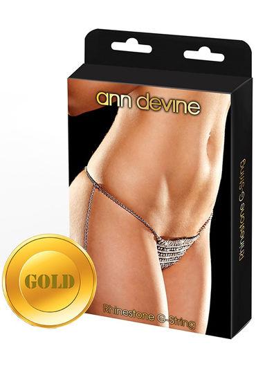 Ann Devine Phinestone G-String, золотой Трусики-стринги из кристаллов ивыь арсенал плеть с синим мехом з