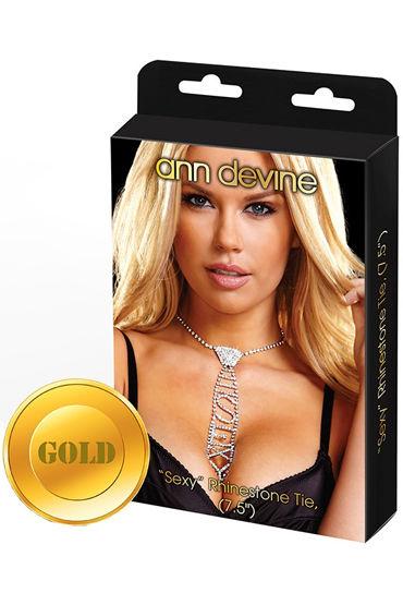 Ann Devine Phinestone Tie Sexy, золотой Галстук с игривой надписью ann devine fuck choker ошейник с провокационной надписью