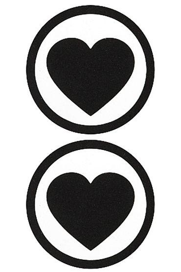 Shots Toys Nipple Sticker Round Hearts, черные Пэстисы в форме сердца в кругу