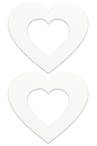 Shots Toys Nipple Sticker Open Hearts, белые Пэстисы в форме сердечек, с отверстиями для сосков fashion secret tania panties open белые йорки