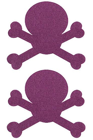 Shots Toys Nipple Sticker Skull, фиолетовые Пэстисы в форме черепов