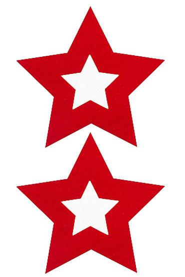 Shots Toys Nipple Sticker Stars, красные Пэстисы в форме звездочек