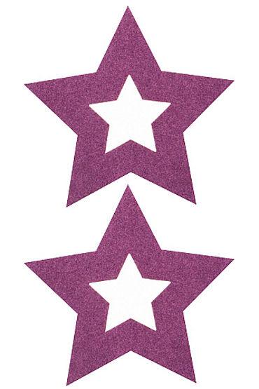 Shots Toys Nipple Sticker Stars, фиолетовые Пэстисы в форме звездочек а колготки цвет телесный