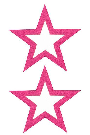 Shots Toys Nipple Sticker Open Stars, розовые Пэстисы в форме звездочек, с отверстиями для сосков