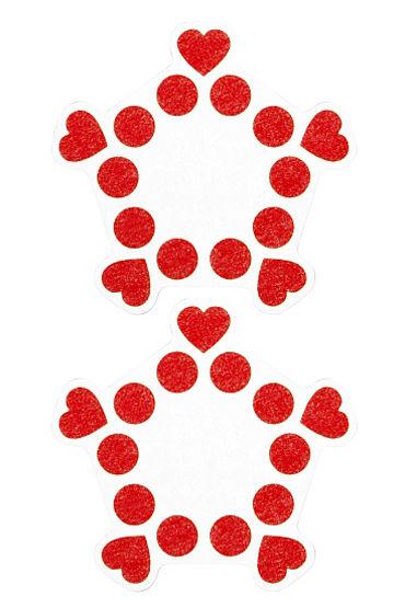 Shots Toys Nipple Sticker Open Circle and Hearts, красные Пэстисы, сердечки и кружочки, не закрывают соски