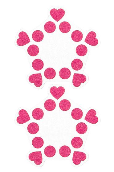 Shots Toys Nipple Sticker Open Circle and Hearts, розовые Пэстисы, сердечки и кружочки, не закрывают соски