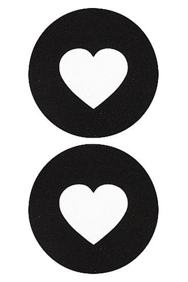 Shots Toys Nipple Sticker Round Open Hearts, черные Пэстисы в форме кругов, с отверстиями сердечек