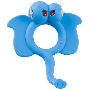 Shots Toys Easy Elephant Эрекционное виброкольцо в виде слоника фаллоимитатор 1 гелевый с присоской