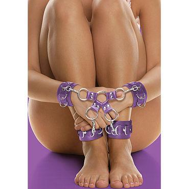 Shots Toys Leather Hand And Leg cuffs, фиолетовый Комплект для бандажа
