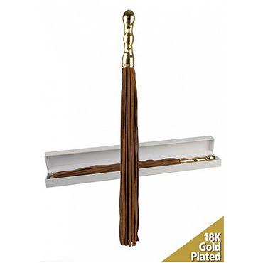 Shots Toys Luxury Whip, коричневая Многохвостая плеть, с золотой рукояткой ивыь арсенал дизайнерская плеть серебристая х