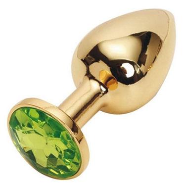 Luxurious Tail Анальная пробка, золотая С зеленым кристаллом luxurious tail силиконовая анальная пробка 7 см черная с зеленым стразом