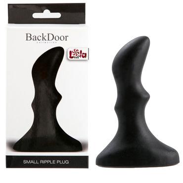Lola Toys Back Door Small Ripple Plug, черная Маленькая анальная пробка с волнистым рельефом lola toys back door flexible wand черная