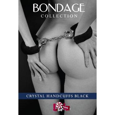 Lola Toys Bondage Crystal Handcuffs, черные Наручники с мехом, Декорированные кристаллами