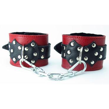 BDSM Арсенал кожаные наручники с натуральным мехом и пряжкой, красно-черные На регулируемых ремешках