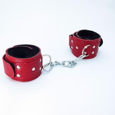 BDSM Арсенал кожаные наручники с натуральным мехом, красные Фиксируются при помощи липучек bdsm арсенал стек черный с шлепком в форме сердца