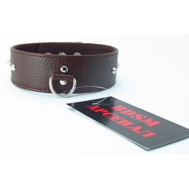 BDSM Арсенал ошейник с шипами, коричневый С кольцом для карабина bdsm арсенал ошейник с кольцом для поводка красно черный декорирован шипами