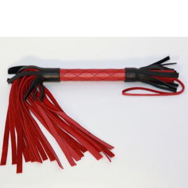 BDSM Арсенал многохвостая плеть, красно-черная С узором на рукоятке bdsm арсенал плеть с синим мехом многохвостая